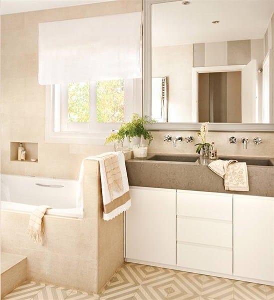 De qué color combinan los mueble de baño con el mármol crema ...