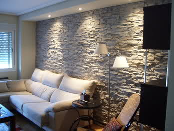 Sal n nuevo decoraci n - Pared piedra salon ...
