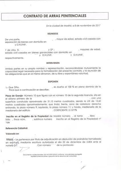 Cancelaci n contrato de arras por el vendedor derecho y leyes - Contrato de alquiler de garaje ...