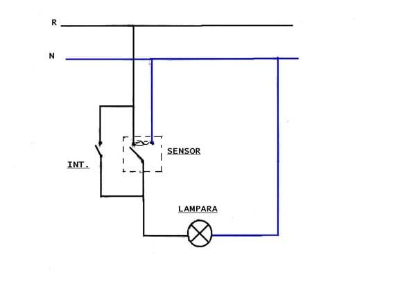 dos l u00e1mparas con sensor de presencia e interruptores