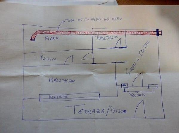 Instalación de extractor de aire en cuarto de almacenaje ...
