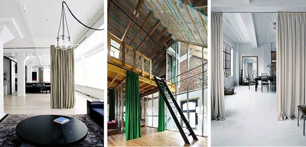 Dividir ambientes con cortinas estores en techo - Cortinas para pasillos ...