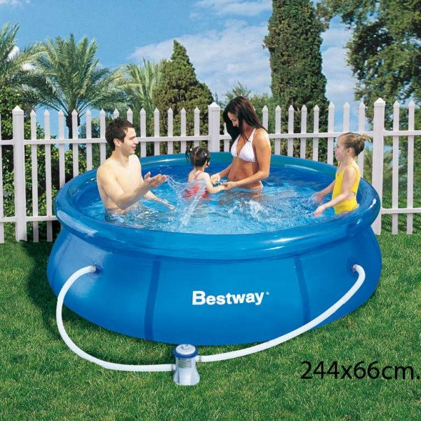 Agua limpia en piscina muy peque a piscinas for Piscina inflable decathlon