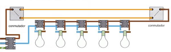 Instalaci n de dos interruptores conmutados con varios - Interruptores para lamparas ...