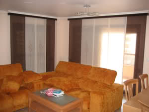 Tejido cortinas decoraci n for Cortinas salon marron