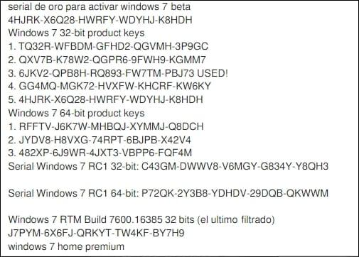 serial windows 7 ultimate 32 bit
