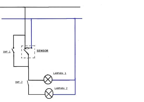 Dos l mparas con sensor de presencia e interruptores - Como instalar lamparas led ...