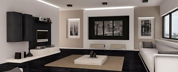 C mo decorar un sal n cocina de 18m con suelo oscuro - Como pintar un salon moderno ...