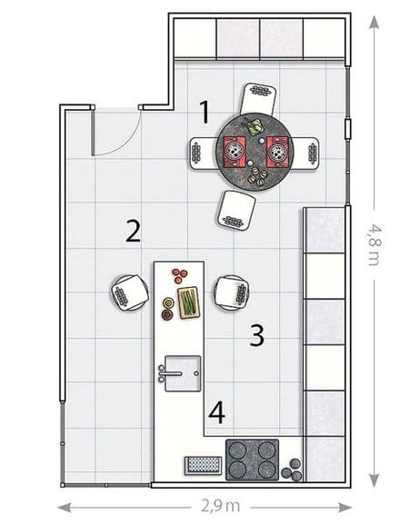 Como dise ar una cocina con pen nsula decoraci n for Plano de cocina de 9m2