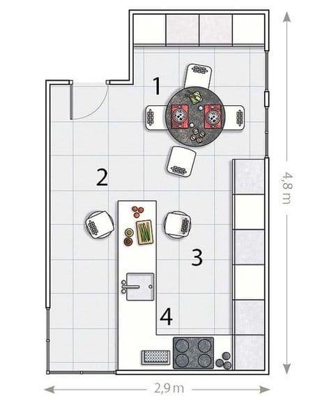 Como dise ar una cocina con pen nsula decoraci n for Planos para disenar cocinas