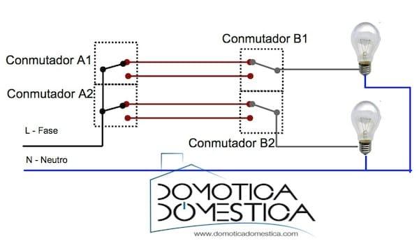 Conexi n de una lampara con conmutadas electricidad - Instalar interruptor conmutador ...
