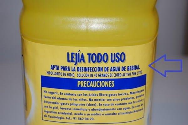 Resultado de imagen de lejía apta para la desinfección de agua de bebida