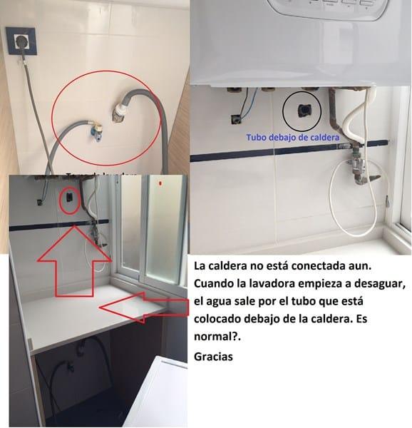 Salida de agua lavadora por desag e de caldera for Como desatascar un desague